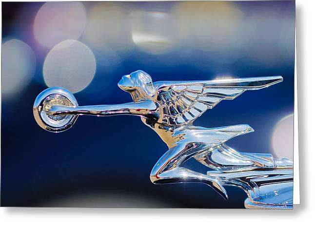 1932 Greeting Cards - 1932 Packard 12 Convertible Victoria Hood Ornament -0251c Greeting Card by Jill Reger