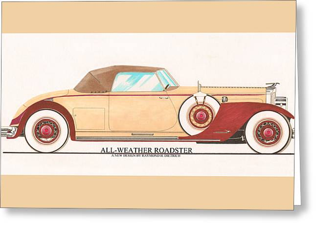 All American Drawings Greeting Cards - 1932 Packard All Weather Roadster by Dietrich concept Greeting Card by Jack Pumphrey