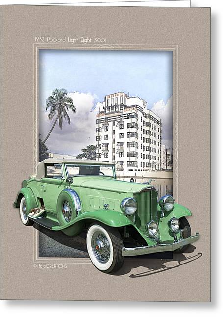 Barrington Greeting Cards - 1932 Packard Light Eight Greeting Card by Roger Beltz