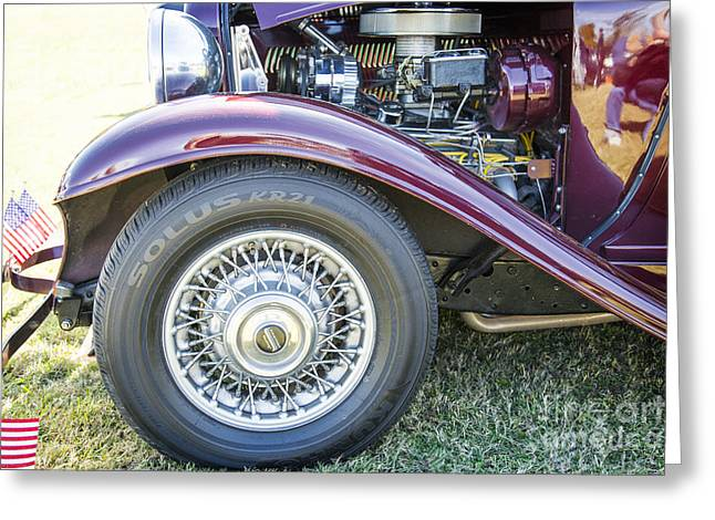 Canvas Wine Prints Photographs Greeting Cards - 1932 Plymouth Front Fender in color Purple 3047.02 Greeting Card by M K  Miller