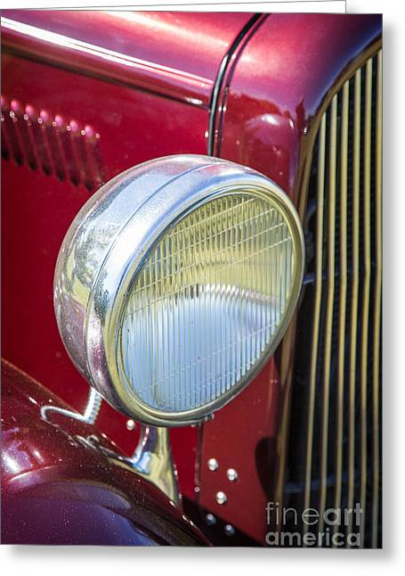 Canvas Wine Prints Photographs Greeting Cards - 1932 Plymouth headlight or Head Light in color Purple 3046.02 Greeting Card by M K  Miller