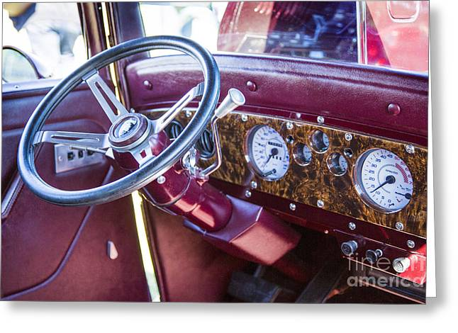 Canvas Wine Prints Photographs Greeting Cards - 1932 Plymouth Interior in color purple 3050.02 Greeting Card by M K  Miller