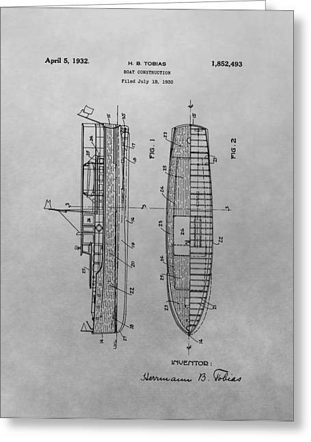 Ocean Photography Drawings Greeting Cards - 1932 Ship Patent Drawing Greeting Card by Dan Sproul