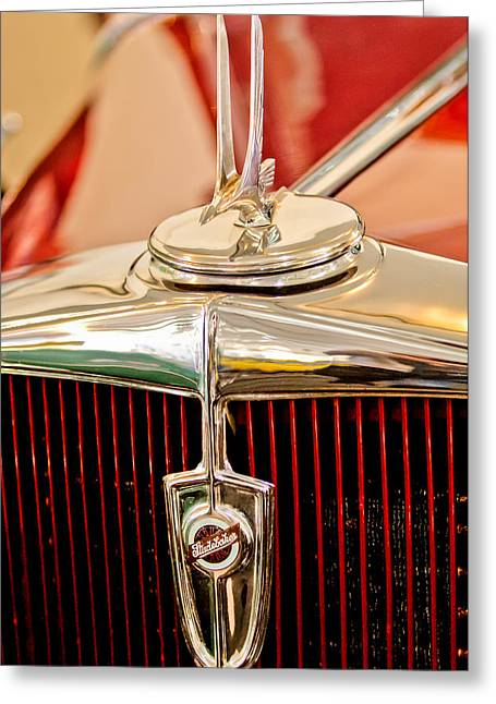 Dictator Greeting Cards - 1932 Studebaker Dictator Custom Coupe Hood Ornament - Emblem Greeting Card by Jill Reger