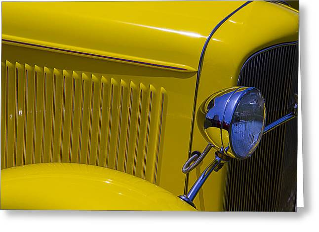 Motorized Greeting Cards - 1932 Yellow Ford Coupe Greeting Card by Garry Gay