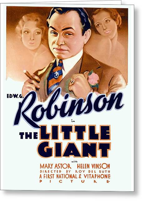 1933 Movies Greeting Cards - 1933 - The Little Giant - Warner Brothers Movie Poster - Edward G Robinson - Color Greeting Card by John Madison