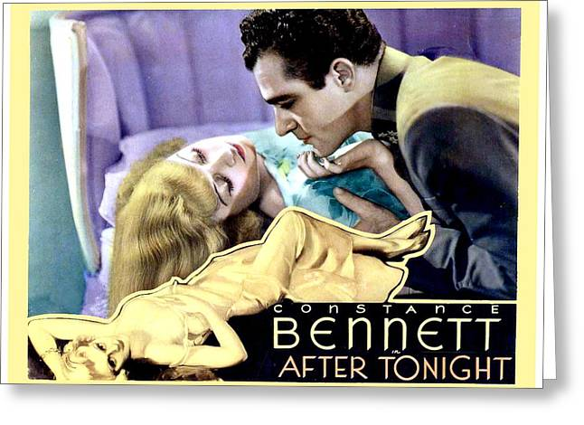 1933 Movies Greeting Cards - 1933 - After Tonight Motion Picture Poster - Constance Bennet - Gilbert Roland - Color Greeting Card by John Madison