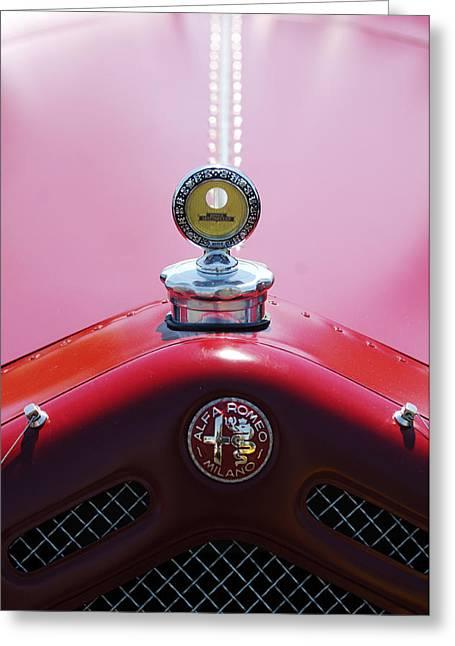 Milano Greeting Cards - 1933 Alfa Romeo P-2 Monza Hood Ornament Greeting Card by Jill Reger