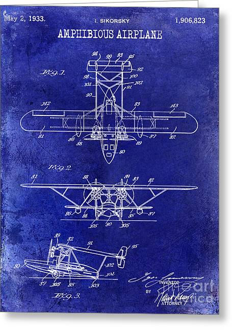 Vintage Airplane Greeting Cards - 1933 Amphibious Airplane  Patent Drawing Blue Greeting Card by Jon Neidert