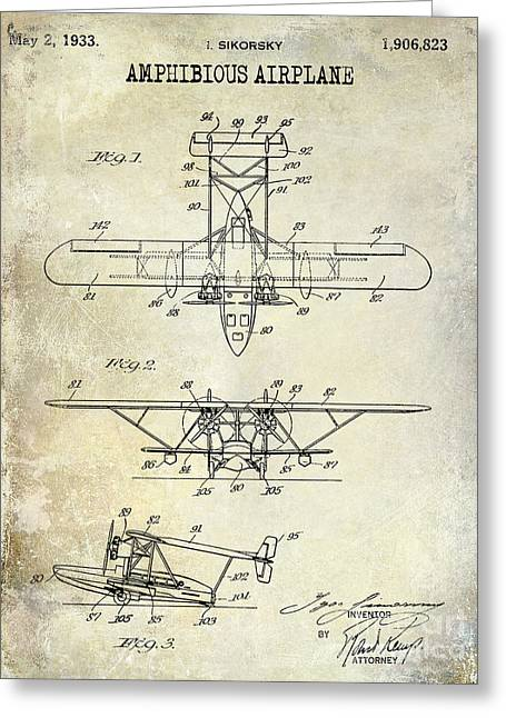 Vintage Airplane Greeting Cards - 1933 Amphibious Airplane  Patent Drawing Greeting Card by Jon Neidert