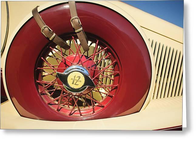 1933 Auburn 12-161a Custom Speedster Spare Tire Emblem Greeting Card by Jill Reger