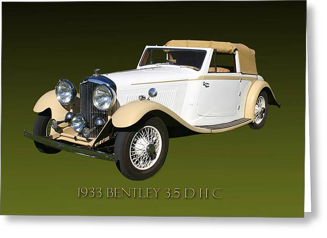 Scuttle Greeting Cards - 1933 Bentley 3  5  Liter Drop Head Coupe Greeting Card by Jack Pumphrey