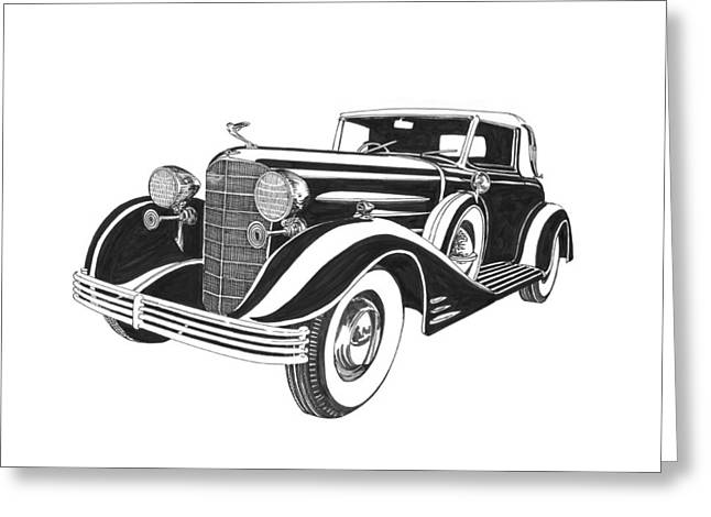 Leather Drawings Greeting Cards - 1933 Cadillac Victoria V 16 Convertible Greeting Card by Jack Pumphrey