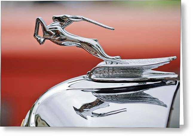 1933 Chrysler CL Imperial Custom Dual Windshield Phaeton Hood Ornament Greeting Card by Jill Reger