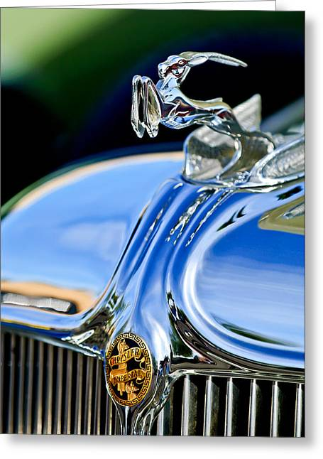 Vintage Hood Ornaments Greeting Cards - 1933 Chrysler Imperial Hood Ornament 3 Greeting Card by Jill Reger