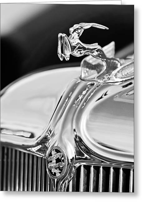 Collector Hood Ornament Greeting Cards - 1933 Chrysler Imperial Hood Ornament 4 Greeting Card by Jill Reger