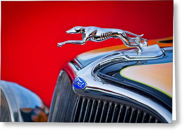 Vintage Hood Ornaments Greeting Cards - 1933 Ford Hood Ornament Greeting Card by Jill Reger