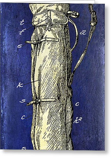 Caddy Greeting Cards - 1933 Golf Bag Patent Drawing 2 Tone Blue Greeting Card by Jon Neidert