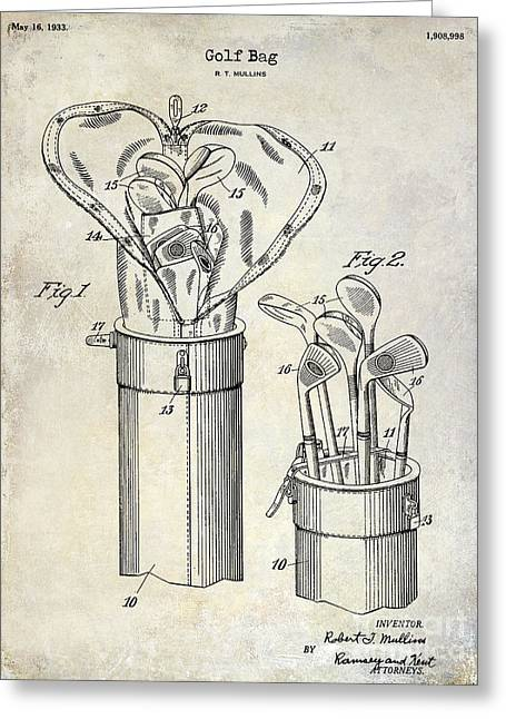 Fairway Greeting Cards - 1933 Golf Bag Patent Drawing Greeting Card by Jon Neidert