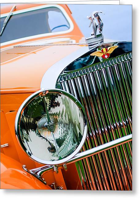 Suiza Greeting Cards - 1933 Hispano-Suiza J12 Vanvooren Coupe Grill Emblem - Hood Ornament Greeting Card by Jill Reger
