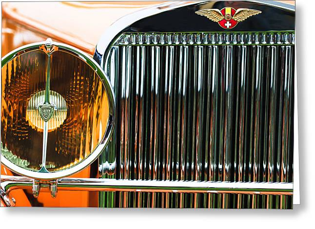 Suiza Greeting Cards - 1933 Hispano-Suiza J12 Vanvooren Coupe Grille Emblem Greeting Card by Jill Reger