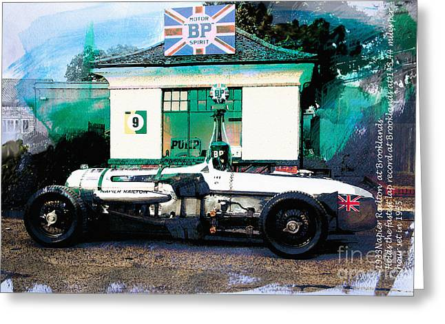 1933 Mixed Media Greeting Cards - 1933 Napier Railton Greeting Card by Roger Lighterness