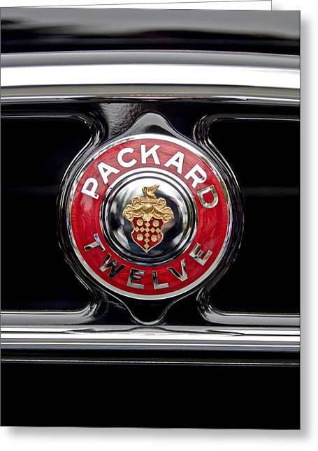 1933 Packard 1005 Twelve Dietrich Convertible Victoria Emblem Greeting Card by Jill Reger