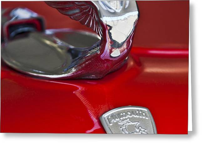 1933 Plymouth Hood Ornament Greeting Card by Jill Reger