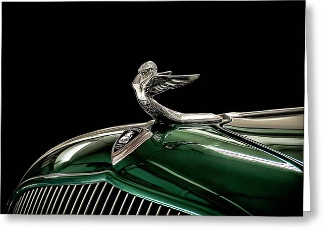 Vintage Hood Ornaments Digital Art Greeting Cards - 1933 Plymouth Mascot Greeting Card by Douglas Pittman