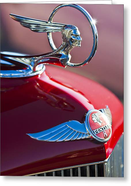 Vintage Hood Ornaments Greeting Cards - 1933 Pontiac Hood Ornament 3 Greeting Card by Jill Reger