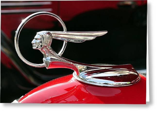 1933 Pontiac Greeting Cards - 1933 Pontiac Hood Ornament Greeting Card by Classic Visions