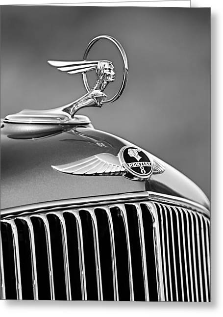 Vintage Hood Ornaments Greeting Cards - 1933 Pontiac Hood Ornament - Emblem -0385BW Greeting Card by Jill Reger
