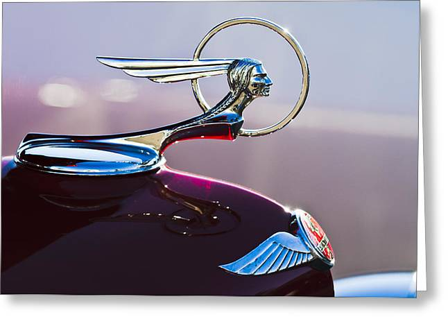 Vintage Hood Ornaments Greeting Cards - 1933 Pontiac Hood Ornament Greeting Card by Jill Reger