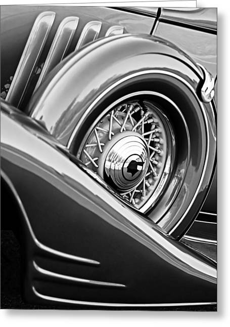1933 Pontiac Greeting Cards - 1933 Pontiac Spare Tire -0431BW Greeting Card by Jill Reger