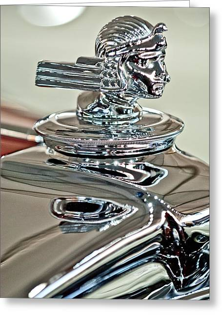 Dual Greeting Cards - 1933 Stutz DV-32 Dual Cowl Phaeton Hood Ornament 2 Greeting Card by Jill Reger