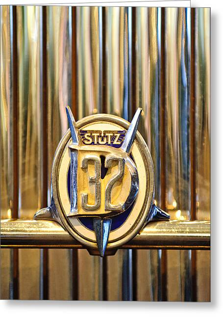 Vintage Hood Ornament Greeting Cards - 1933 Stutz DV-32 Five Passenger Sedan Emblem Greeting Card by Jill Reger