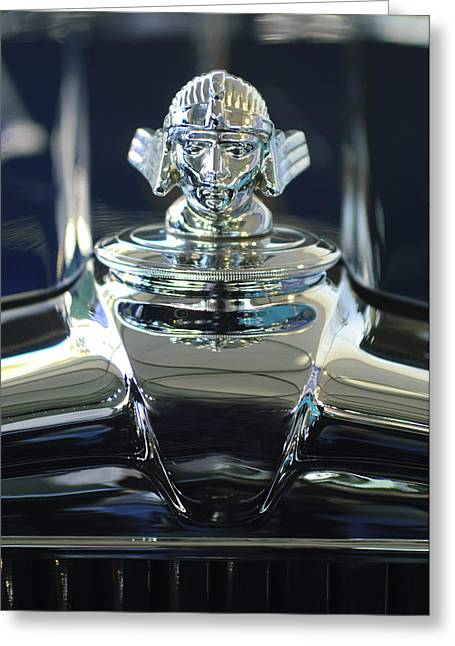 Vintage Hood Ornament Greeting Cards - 1933 Stutz DV-32 Hood Ornament 2 Greeting Card by Jill Reger