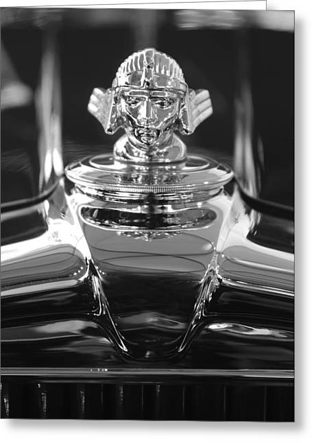 Vintage Hood Ornament Greeting Cards - 1933 Stutz DV-32 Hood Ornament 4 Greeting Card by Jill Reger