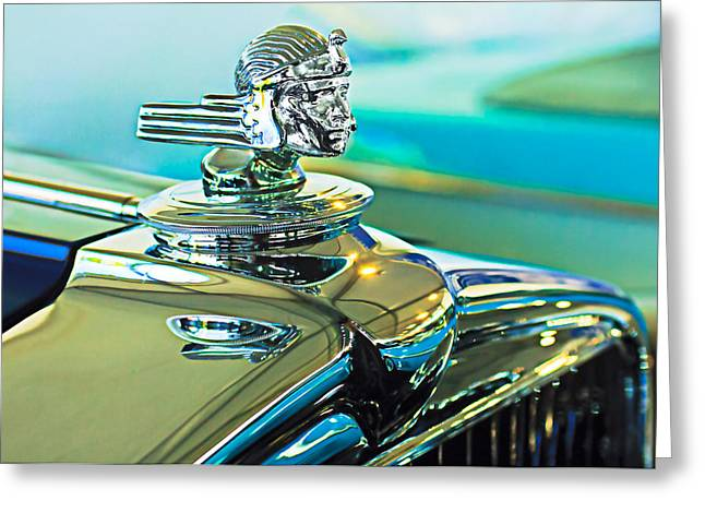 Car Mascot Greeting Cards - 1933 Stutz DV-32 Hood Ornament Greeting Card by Jill Reger