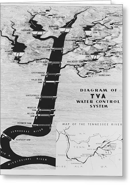 Tennessee River Greeting Cards - 1933 Tennessee Valley Authority Map Greeting Card by Daniel Hagerman