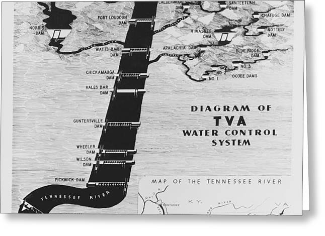 1933 TENNESSEE VALLEY AUTHORITY MAP Greeting Card by Daniel Hagerman