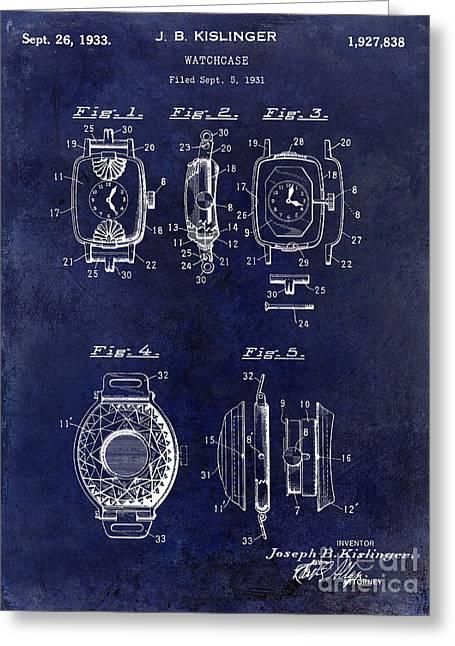 1933 Watch Case Patent Drawing Blue Greeting Card by Jon Neidert
