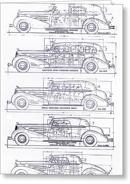 Limo Greeting Cards - 1934-37 Cadillac V-16 Body Types Blueprint Greeting Card by Jon Neidert