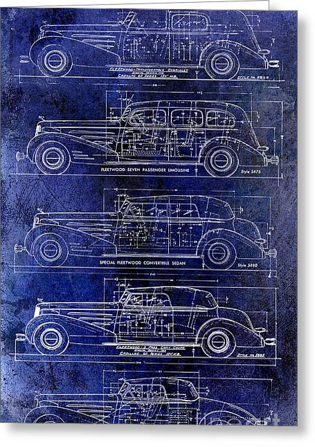 1934-37 Cadillac V-16 Body Types Drawing Blue Greeting Card by Jon Neidert