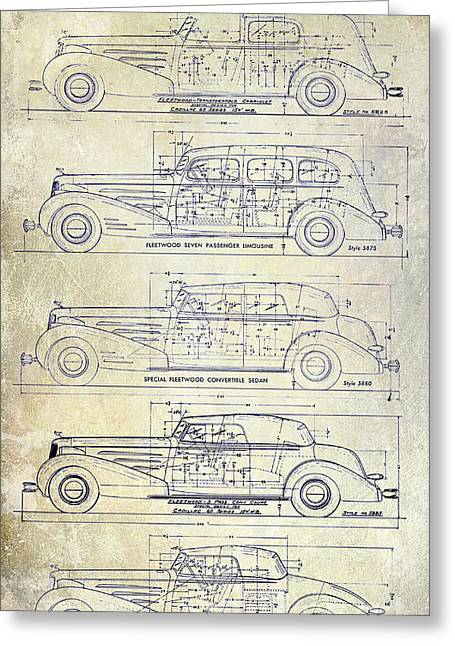 Limo Greeting Cards - 1934-37 Cadillac V-16 Body Types Drawing Greeting Card by Jon Neidert