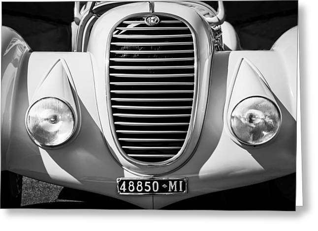 Alga Greeting Cards - 1934 Alfa Romeo 8C Zagato Grille -0071bw Greeting Card by Jill Reger