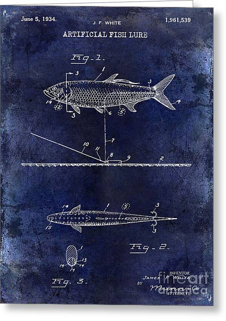 Large-mouth Bass Greeting Cards - 1934 Artificial Fish Lure Patent Drawing Blue Greeting Card by Jon Neidert