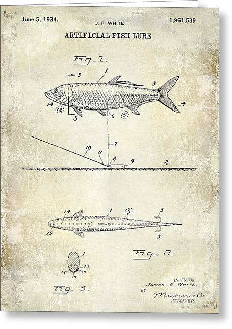 Large-mouth Bass Greeting Cards - 1934 Artificial Fish Lure Patent Drawing Greeting Card by Jon Neidert