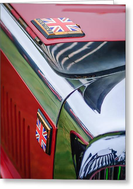 1934 Greeting Cards - 1934 Aston Martin Mark II Short Chassis 2-4 Seater Emblem Greeting Card by Jill Reger