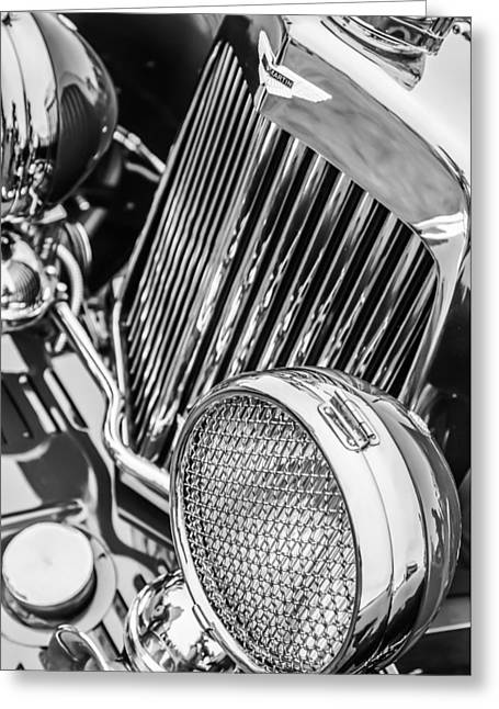 1934 Aston Martin Mark II Short Chassis 2-4 Seater - Grille Emblem -0867bw Greeting Card by Jill Reger